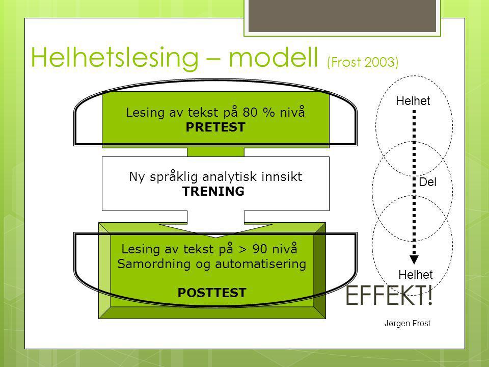 Jørgen Frost Helhetslesing – modell (Frost 2003) EFFEKT! Lesing av tekst på > 90 nivå Samordning og automatisering POSTTEST Lesing av tekst på 80 % ni