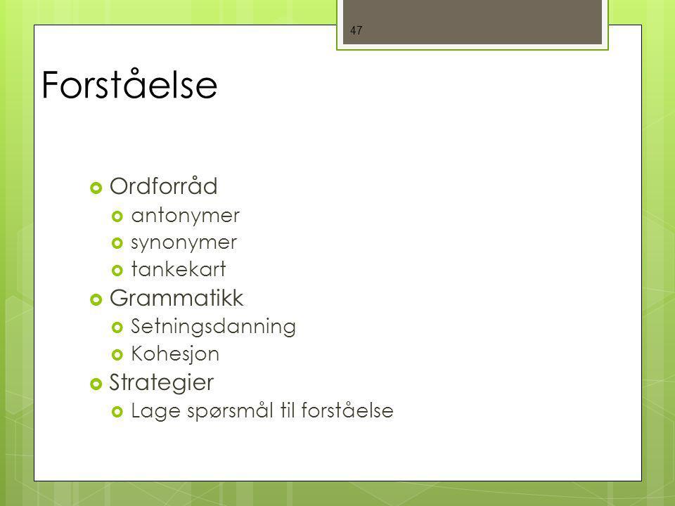 47 Forståelse  Ordforråd  antonymer  synonymer  tankekart  Grammatikk  Setningsdanning  Kohesjon  Strategier  Lage spørsmål til forståelse