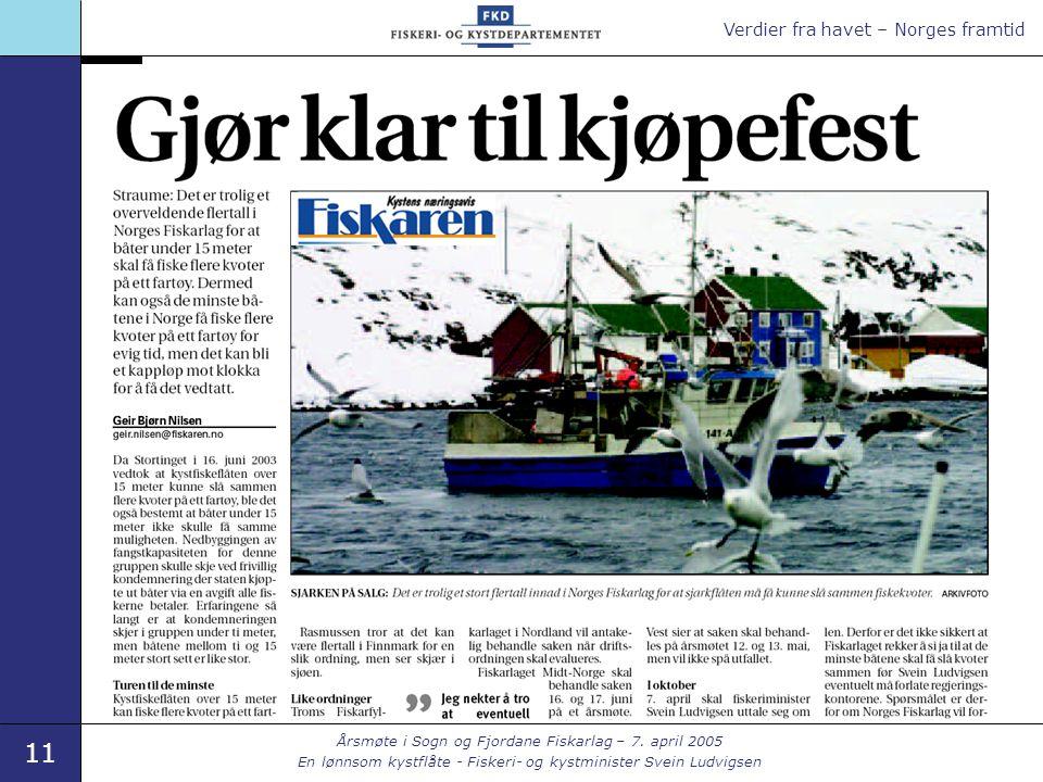 Verdier fra havet – Norges framtid 11 Årsmøte i Sogn og Fjordane Fiskarlag – 7. april 2005 En lønnsom kystflåte - Fiskeri- og kystminister Svein Ludvi