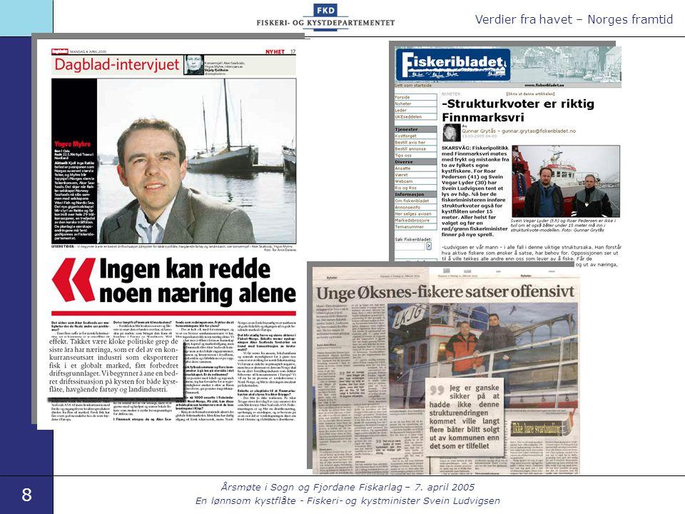 Verdier fra havet – Norges framtid 8 Årsmøte i Sogn og Fjordane Fiskarlag – 7. april 2005 En lønnsom kystflåte - Fiskeri- og kystminister Svein Ludvig