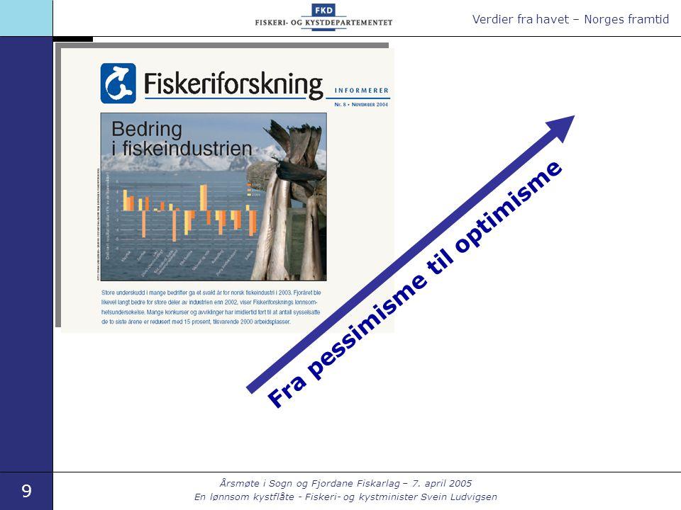 Verdier fra havet – Norges framtid 9 Årsmøte i Sogn og Fjordane Fiskarlag – 7. april 2005 En lønnsom kystflåte - Fiskeri- og kystminister Svein Ludvig