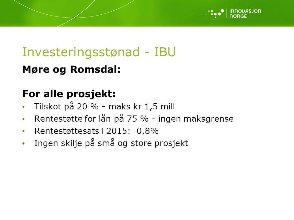 Investeringsstønad - IBU Møre og Romsdal: For alle prosjekt: Tilskot på 20 % - maks kr 1,5 mill Rentestøtte for lån på 75 % - ingen maksgrense Rentest