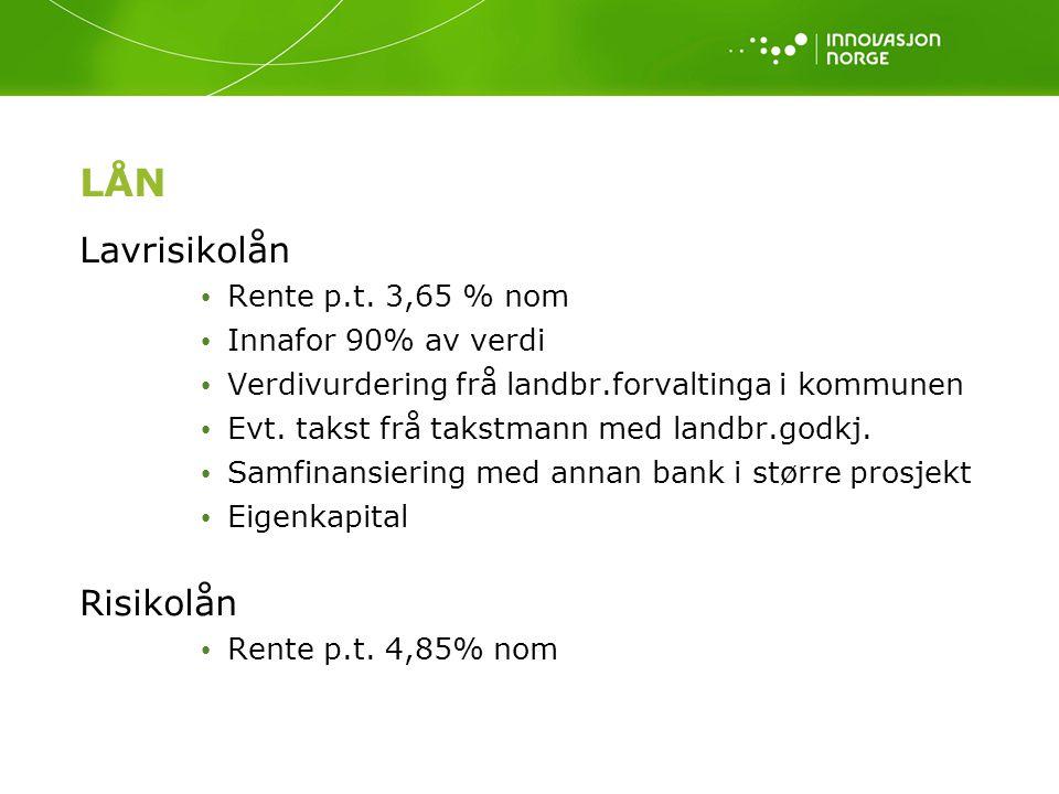 LÅN Lavrisikolån Rente p.t. 3,65 % nom Innafor 90% av verdi Verdivurdering frå landbr.forvaltinga i kommunen Evt. takst frå takstmann med landbr.godkj