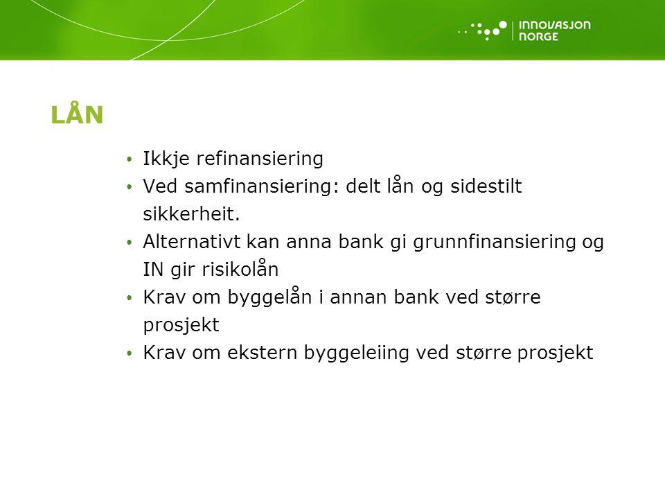 LÅN Ikkje refinansiering Ved samfinansiering: delt lån og sidestilt sikkerheit. Alternativt kan anna bank gi grunnfinansiering og IN gir risikolån Kra