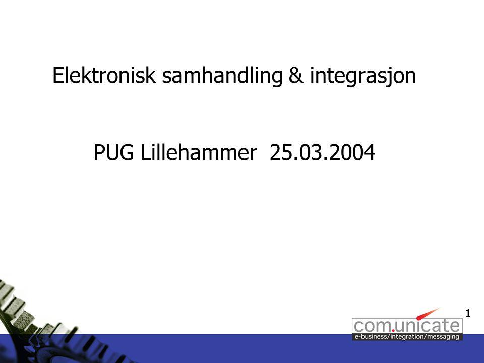 1 Elektronisk samhandling & integrasjon PUG Lillehammer 25.03.2004