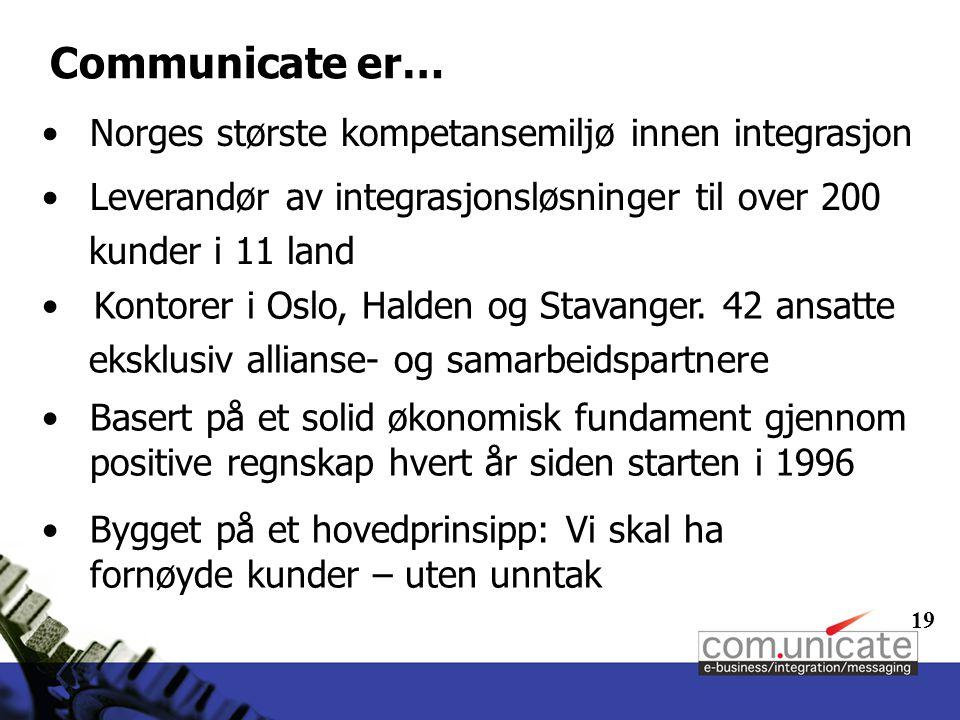 19 Communicate er… Norges største kompetansemiljø innen integrasjon Leverandør av integrasjonsløsninger til over 200 kunder i 11 land Kontorer i Oslo, Halden og Stavanger.