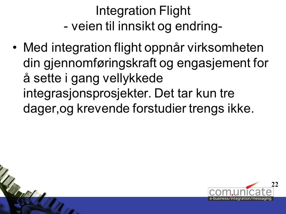 22 Integration Flight - veien til innsikt og endring- Med integration flight oppnår virksomheten din gjennomføringskraft og engasjement for å sette i gang vellykkede integrasjonsprosjekter.