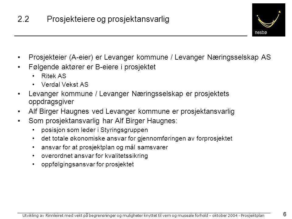 Utvikling av Rinnleiret med vekt på begrensninger og muligheter knyttet til vern og museale forhold – oktober 2004 - Prosjektplan 7 2.3Styringsgruppe Styringsgruppen for prosjektet vil bestå av følgende medlemmer: Alf Birger Haugnes (leder)Ass.