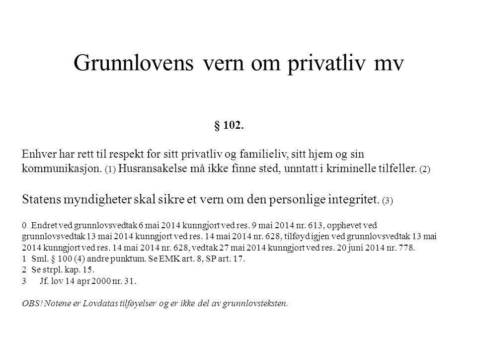 Grunnlovens vern om privatliv mv § 102. Enhver har rett til respekt for sitt privatliv og familieliv, sitt hjem og sin kommunikasjon. (1) Husransakels