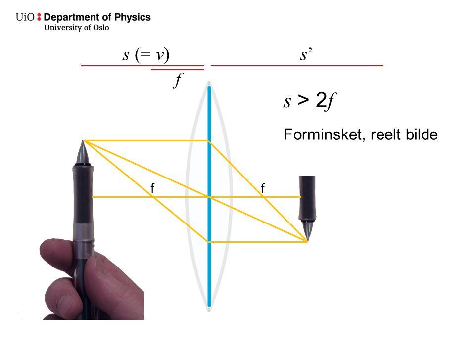 s (= v)s's' f s > 2 f Forminsket, reelt bilde ff