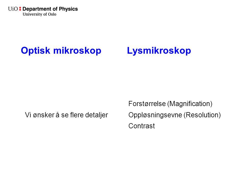 Lysmikroskop Vi ønsker å se flere detaljer Forstørrelse (Magnification) Oppløsningsevne (Resolution) Contrast Optisk mikroskop