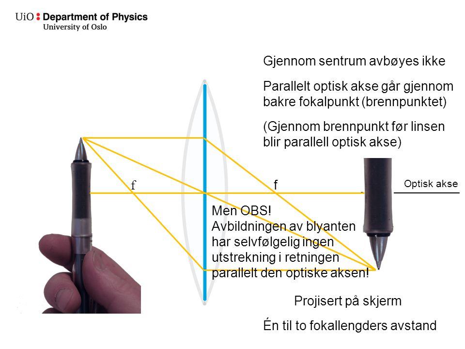 Optisk akse Gjennom sentrum avbøyes ikke Parallelt optisk akse går gjennom bakre fokalpunkt (brennpunktet) f (Gjennom brennpunkt før linsen blir parallell optisk akse) f Projisert på skjerm Én til to fokallengders avstand Men OBS.