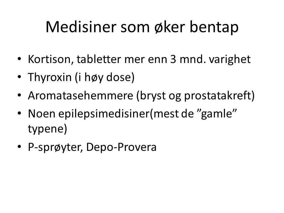Medisiner som øker bentap Kortison, tabletter mer enn 3 mnd. varighet Thyroxin (i høy dose) Aromatasehemmere (bryst og prostatakreft) Noen epilepsimed