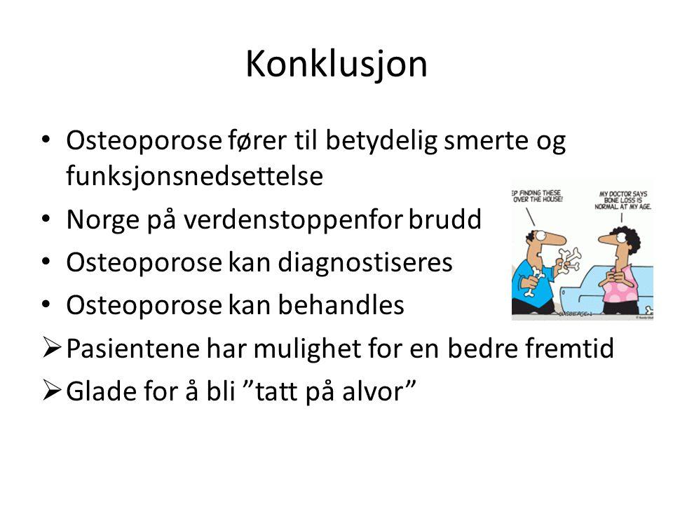 Konklusjon Osteoporose fører til betydelig smerte og funksjonsnedsettelse Norge på verdenstoppenfor brudd Osteoporose kan diagnostiseres Osteoporose k