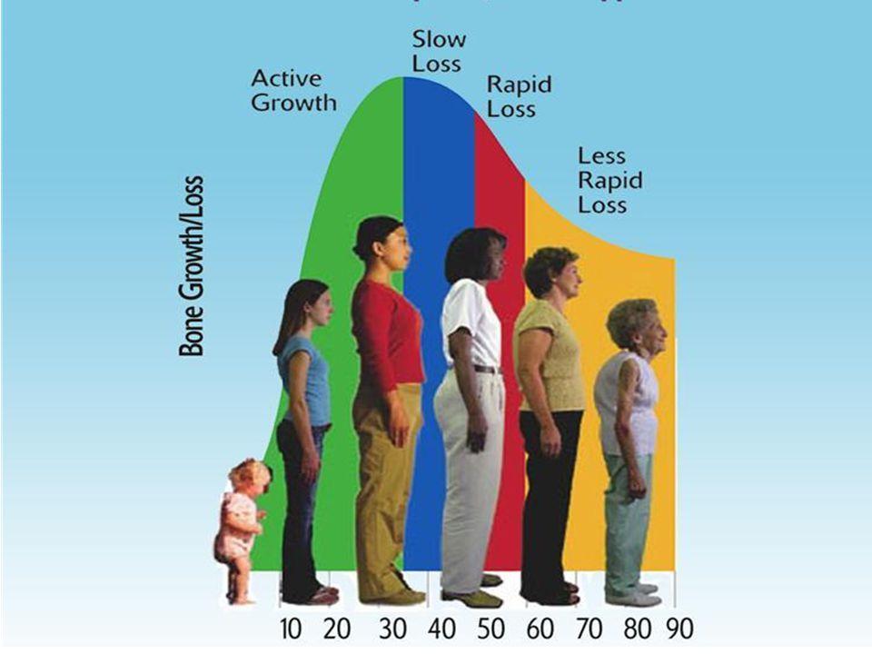 Peak bone mass Vi oppnår maksimal benmasse i 20-års alderen Fysisk aktivitet er nødvendig for å oppnå dette, særlig i puberteten (da er effekten på skjelettet dobbelt så stor) Ernæring i barne- og ungdomsårene Innskudd i benbanken , kjønnsforskjell