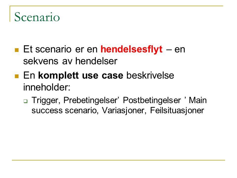 Scenario Et scenario er en hendelsesflyt – en sekvens av hendelser En komplett use case beskrivelse inneholder:  Trigger, Prebetingelser' Postbetingelser ' Main success scenario, Variasjoner, Feilsituasjoner