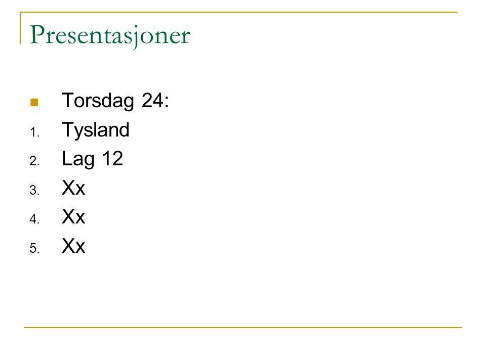 Presentasjoner Torsdag 24: 1. Tysland 2. Lag 12 3. Xx 4. Xx 5. Xx