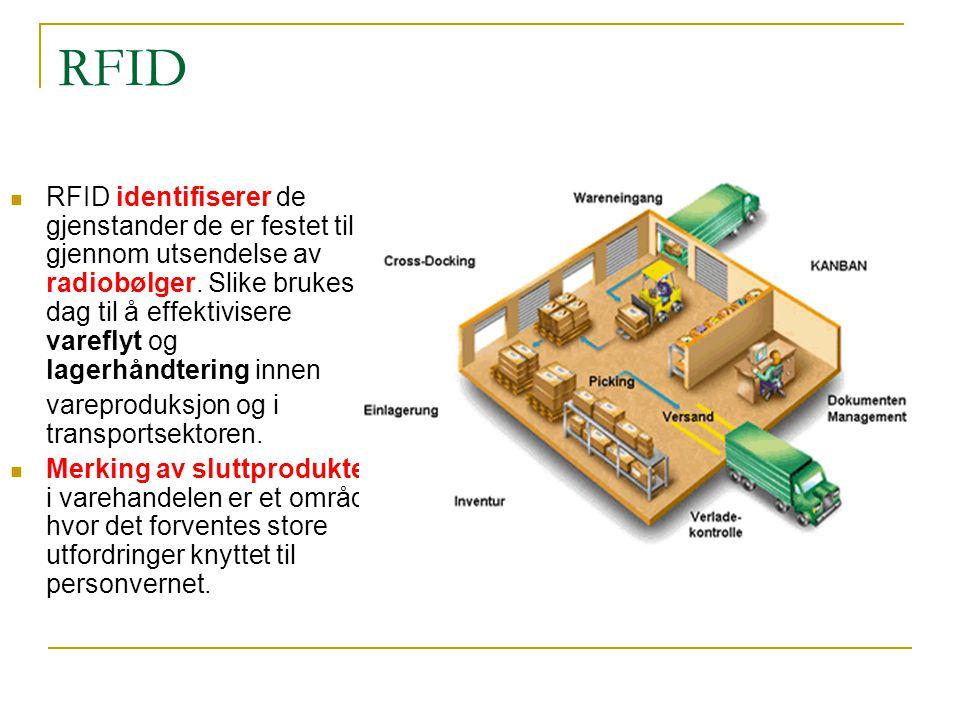 RFID RFID identifiserer de gjenstander de er festet til gjennom utsendelse av radiobølger.