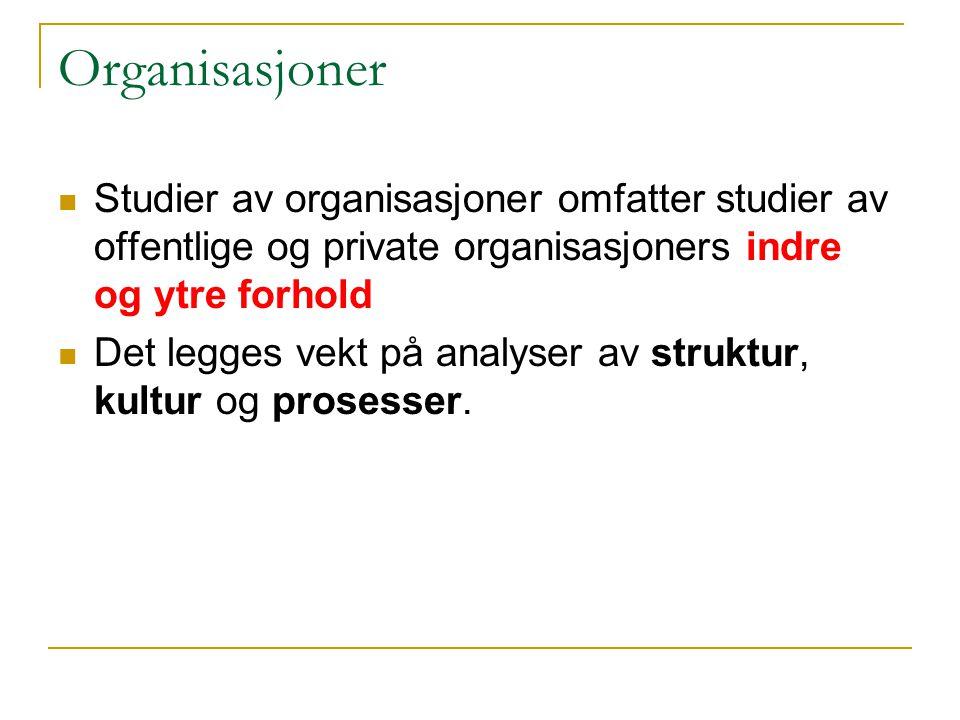 Organisasjoner Studier av organisasjoner omfatter studier av offentlige og private organisasjoners indre og ytre forhold Det legges vekt på analyser av struktur, kultur og prosesser.