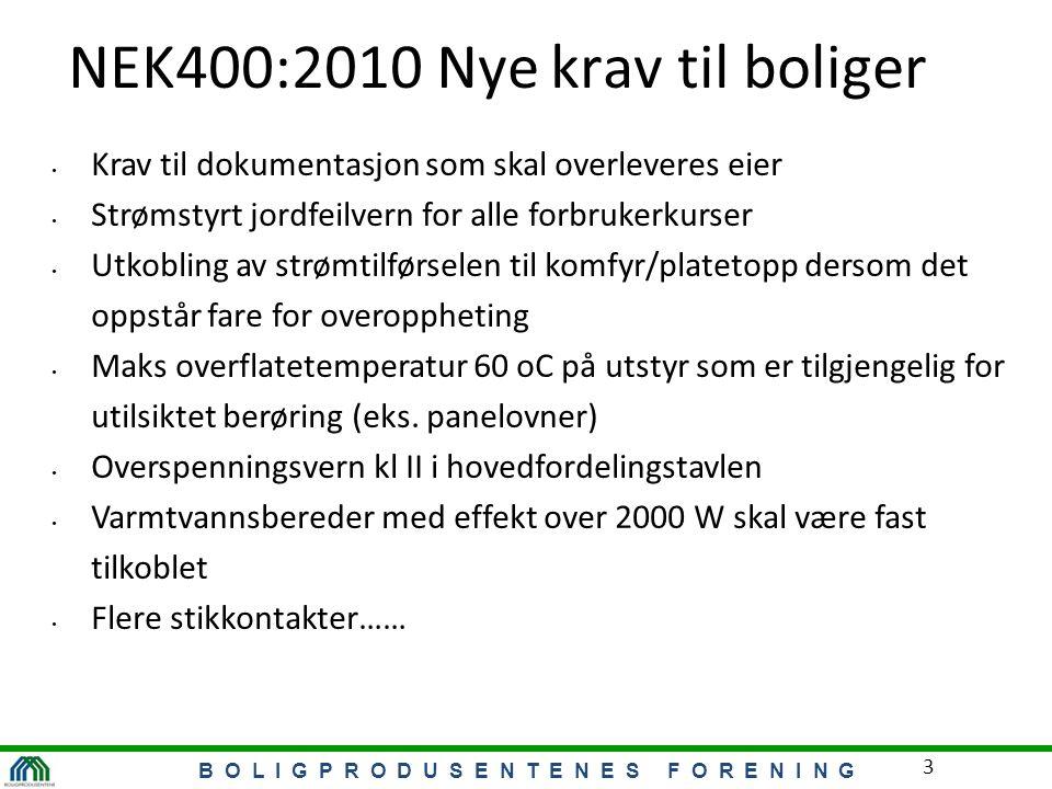 B O L I G P R O D U S E N T E N E S F O R E N I N G 3 NEK400:2010 Nye krav til boliger Krav til dokumentasjon som skal overleveres eier Strømstyrt jor