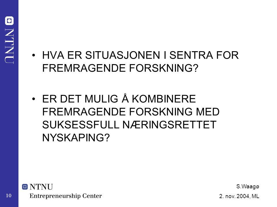 S.Waagø 2. nov. 2004, ML 10 HVA ER SITUASJONEN I SENTRA FOR FREMRAGENDE FORSKNING.
