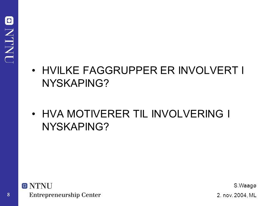 S.Waagø 2. nov. 2004, ML 8 HVILKE FAGGRUPPER ER INVOLVERT I NYSKAPING.