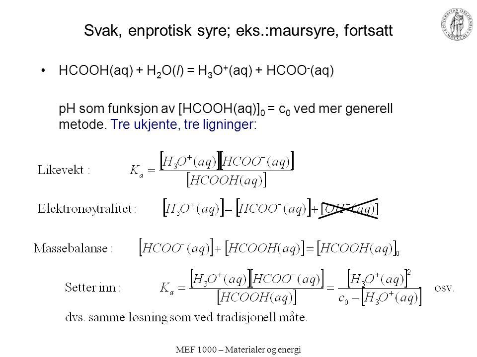MEF 1000 – Materialer og energi Svak, enprotisk syre; eks.:maursyre, fortsatt HCOOH(aq) + H 2 O(l) = H 3 O + (aq) + HCOO - (aq) pH som funksjon av [HC