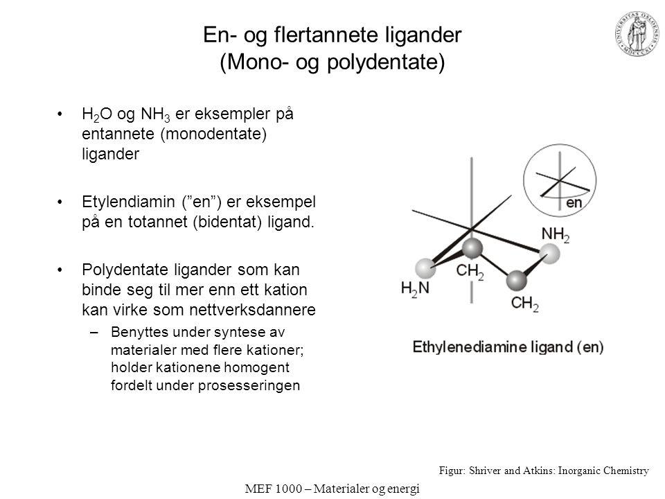 MEF 1000 – Materialer og energi En- og flertannete ligander (Mono- og polydentate) H 2 O og NH 3 er eksempler på entannete (monodentate) ligander Etyl