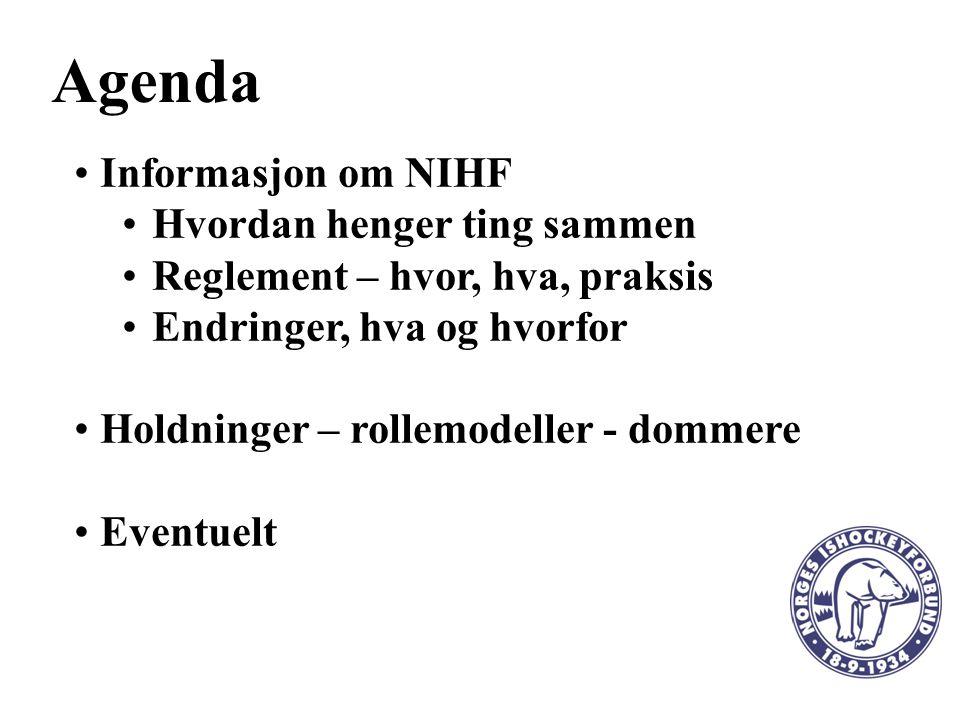 Agenda Informasjon om NIHF Hvordan henger ting sammen Reglement – hvor, hva, praksis Endringer, hva og hvorfor Holdninger – rollemodeller - dommere Eventuelt