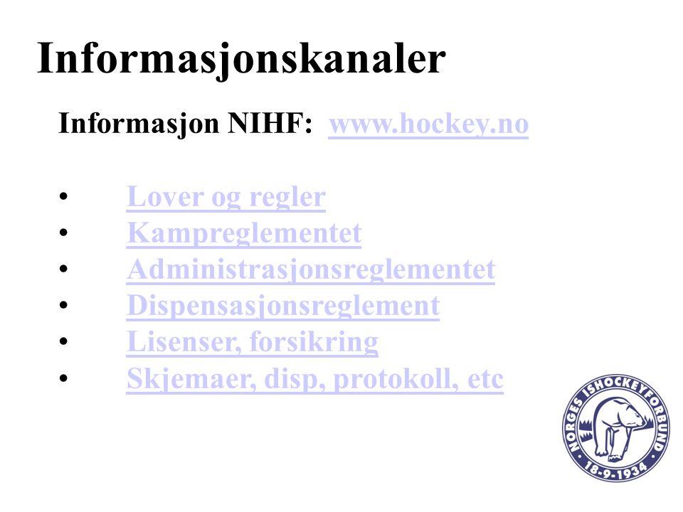 Informasjonskanaler Informasjon NIHF: www.hockey.nowww.hockey.no Lover og regler Kampreglementet Administrasjonsreglementet Dispensasjonsreglement Lisenser, forsikring Skjemaer, disp, protokoll, etc