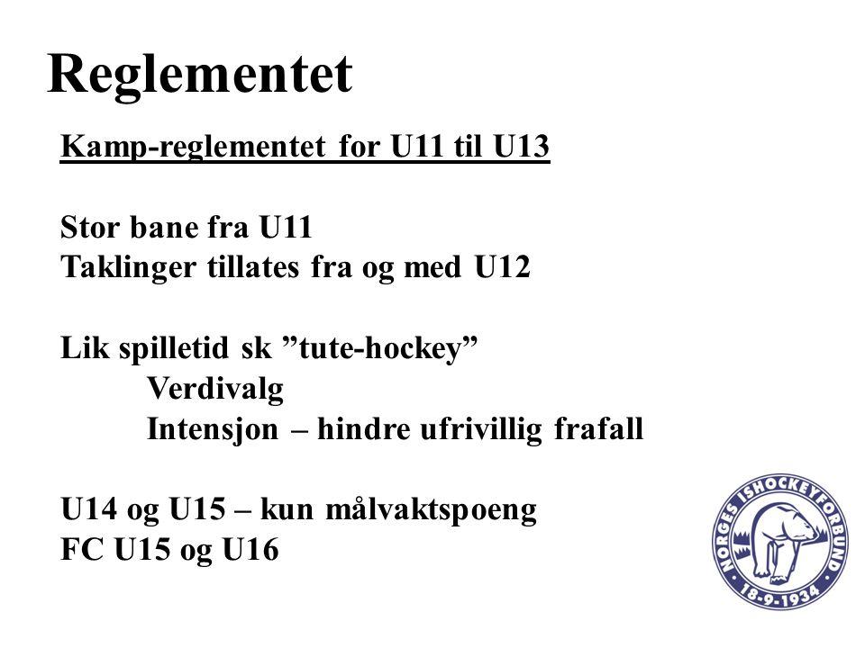 Reglementet Kamp-reglementet for U11 til U13 Stor bane fra U11 Taklinger tillates fra og med U12 Lik spilletid sk tute-hockey Verdivalg Intensjon – hindre ufrivillig frafall U14 og U15 – kun målvaktspoeng FC U15 og U16