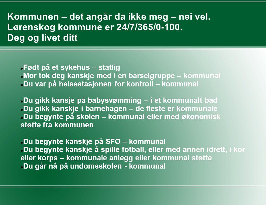 Kommunen – det angår da ikke meg – nei vel.Lørenskog kommune er 24/7/365/0-100.