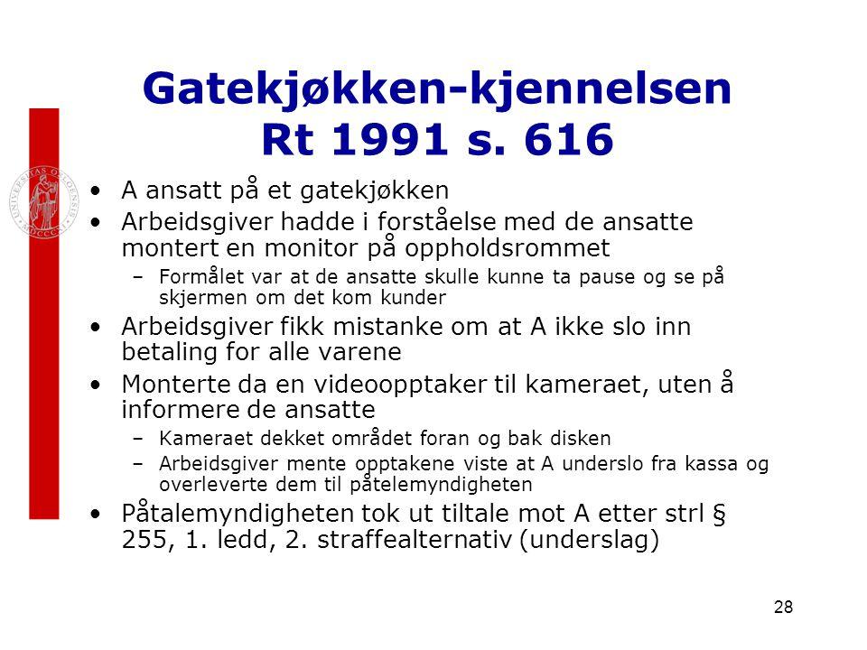 28 Gatekjøkken-kjennelsen Rt 1991 s. 616 A ansatt på et gatekjøkken Arbeidsgiver hadde i forståelse med de ansatte montert en monitor på oppholdsromme