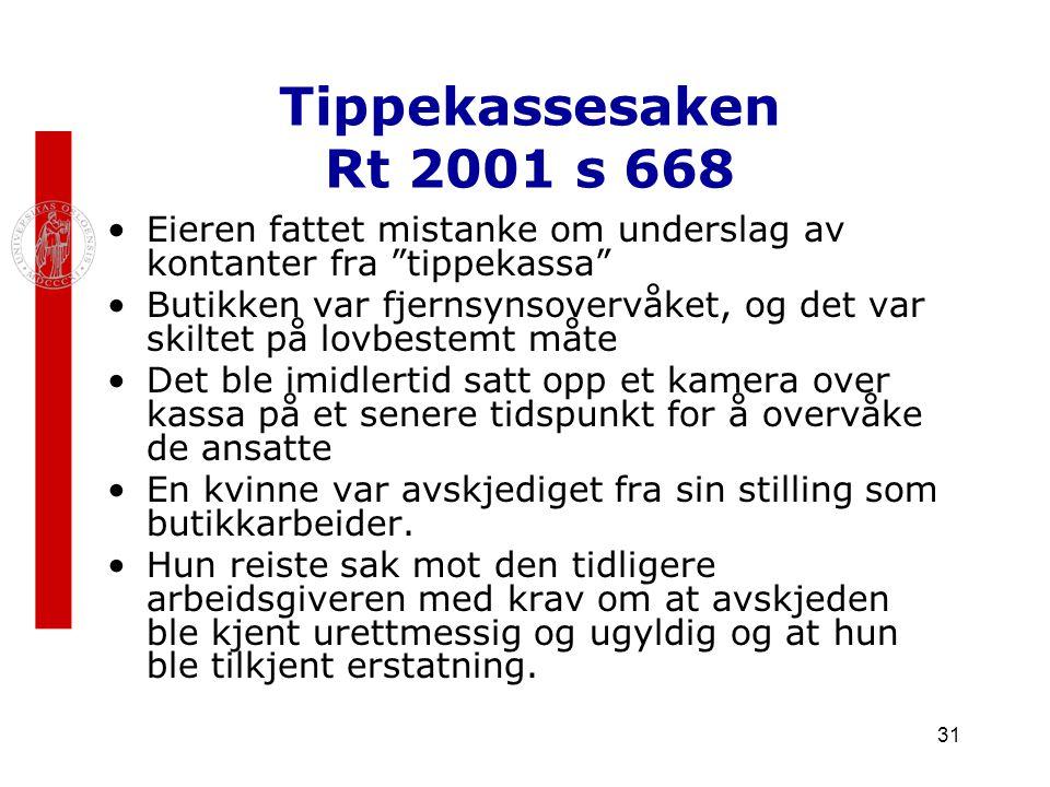"""31 Tippekassesaken Rt 2001 s 668 Eieren fattet mistanke om underslag av kontanter fra """"tippekassa"""" Butikken var fjernsynsovervåket, og det var skiltet"""