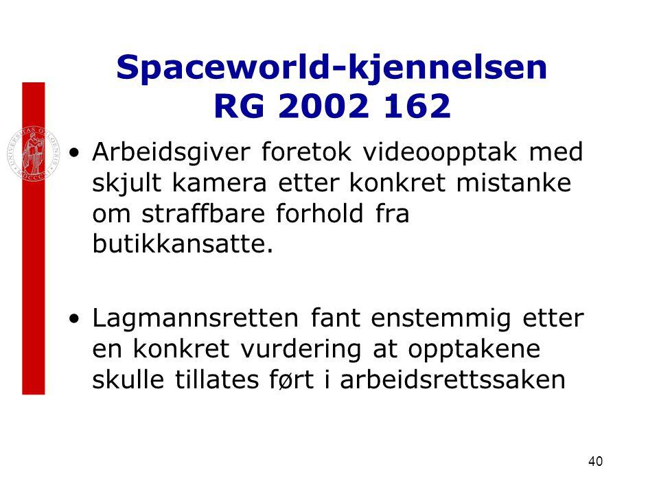 40 Spaceworld-kjennelsen RG 2002 162 Arbeidsgiver foretok videoopptak med skjult kamera etter konkret mistanke om straffbare forhold fra butikkansatte