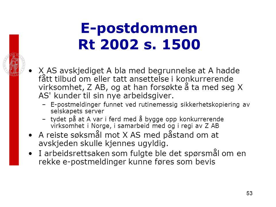 53 E-postdommen Rt 2002 s. 1500 X AS avskjediget A bla med begrunnelse at A hadde fått tilbud om eller tatt ansettelse i konkurrerende virksomhet, Z A
