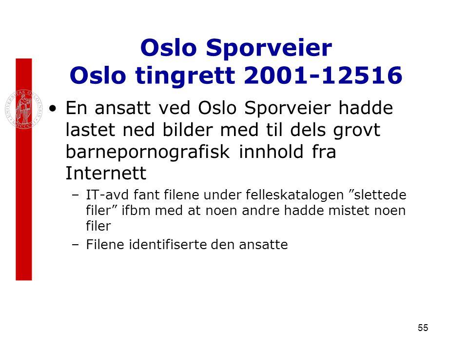 55 Oslo Sporveier Oslo tingrett 2001-12516 En ansatt ved Oslo Sporveier hadde lastet ned bilder med til dels grovt barnepornografisk innhold fra Inter