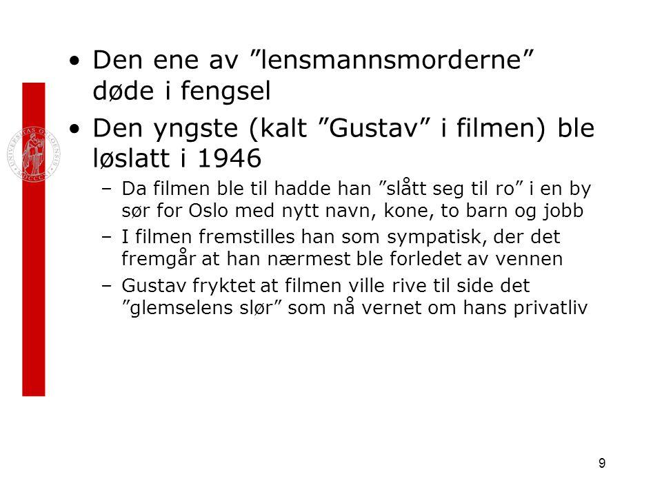 """9 Den ene av """"lensmannsmorderne"""" døde i fengsel Den yngste (kalt """"Gustav"""" i filmen) ble løslatt i 1946 –Da filmen ble til hadde han """"slått seg til ro"""""""