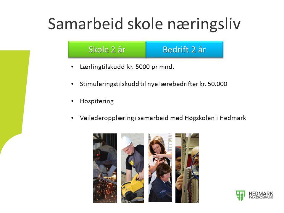 Samarbeid skole næringsliv Skole 2 år Bedrift 2 år Lærlingtilskudd kr.