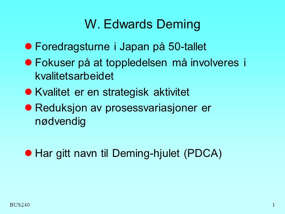BUS2401 W. Edwards Deming Foredragsturne i Japan på 50-tallet Fokuser på at toppledelsen må involveres i kvalitetsarbeidet Kvalitet er en strategisk a