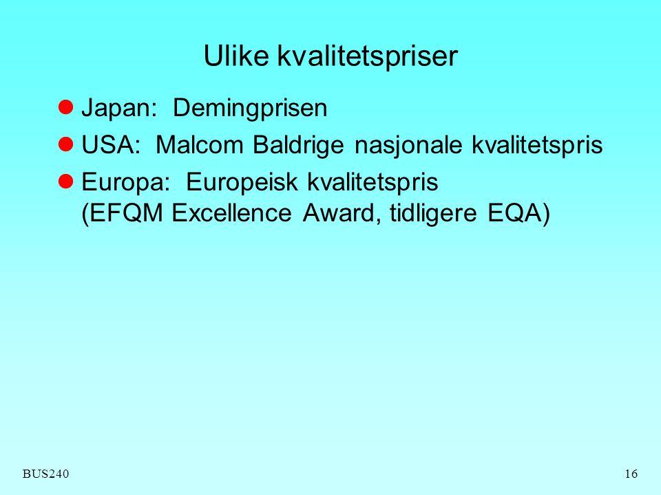 BUS24016 Ulike kvalitetspriser Japan: Demingprisen USA: Malcom Baldrige nasjonale kvalitetspris Europa: Europeisk kvalitetspris (EFQM Excellence Award