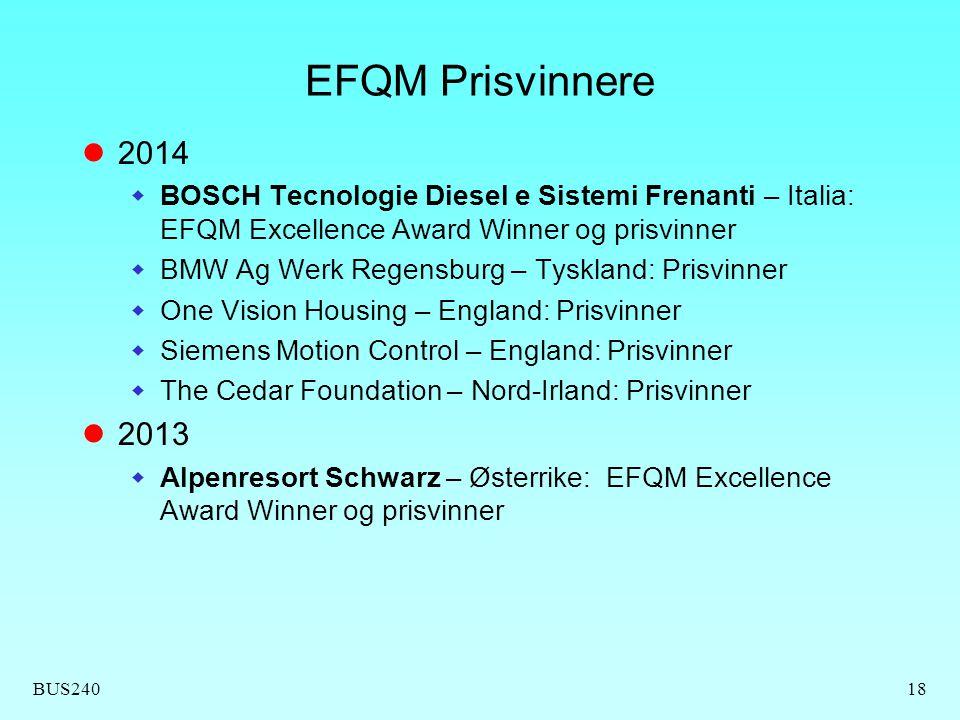 BUS24018 EFQM Prisvinnere 2014  BOSCH Tecnologie Diesel e Sistemi Frenanti – Italia: EFQM Excellence Award Winner og prisvinner  BMW Ag Werk Regensb