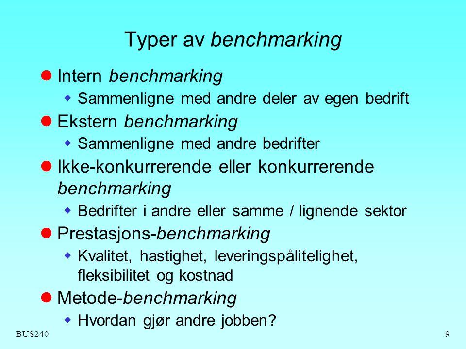 BUS2409 Typer av benchmarking Intern benchmarking  Sammenligne med andre deler av egen bedrift Ekstern benchmarking  Sammenligne med andre bedrifter