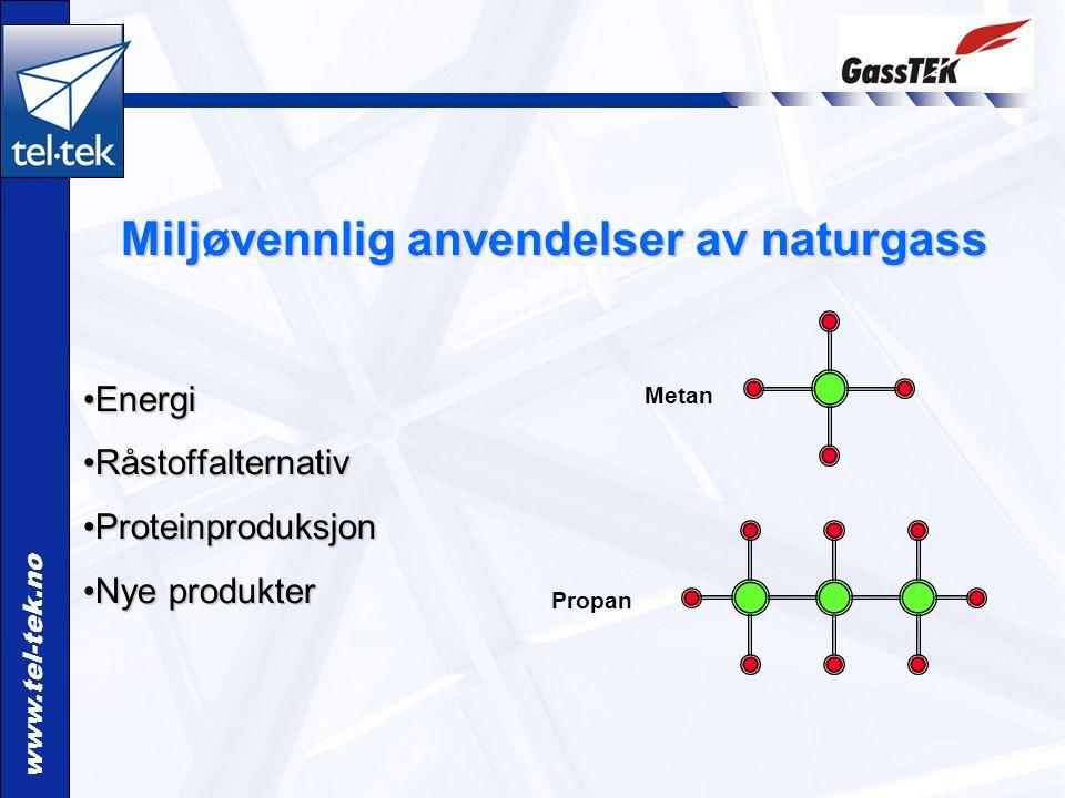 www.tel-tek.no Miljøvennlig anvendelser av naturgass EnergiEnergi RåstoffalternativRåstoffalternativ ProteinproduksjonProteinproduksjon Nye produkterNye produkter Propan Metan