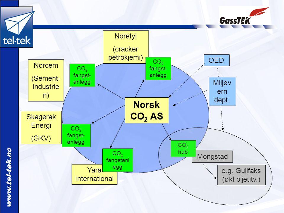 www.tel-tek.no Norcem (Sement- industrie n) Skagerak Energi (GKV) Noretyl (cracker petrokjemi) CO 2 fangst- anlegg OED Miljøv ern dept. Mongstad e.g.