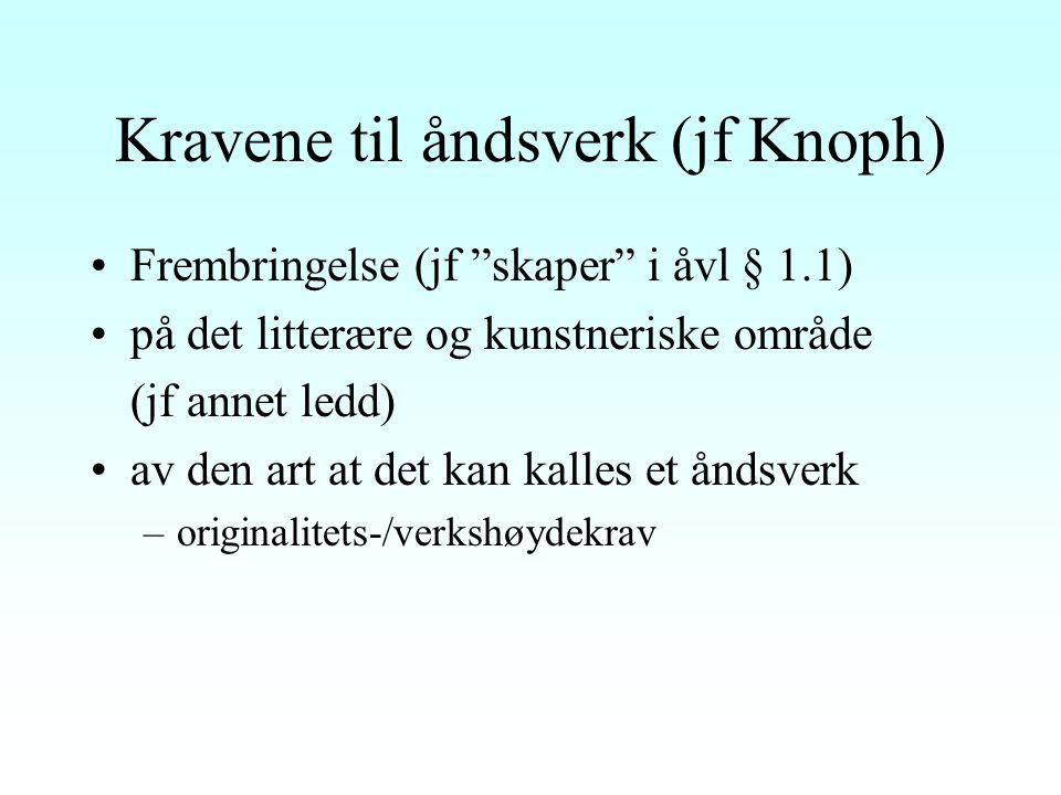 Kravene til åndsverk (jf Knoph) Frembringelse (jf skaper i åvl § 1.1) på det litterære og kunstneriske område (jf annet ledd) av den art at det kan kalles et åndsverk –originalitets-/verkshøydekrav