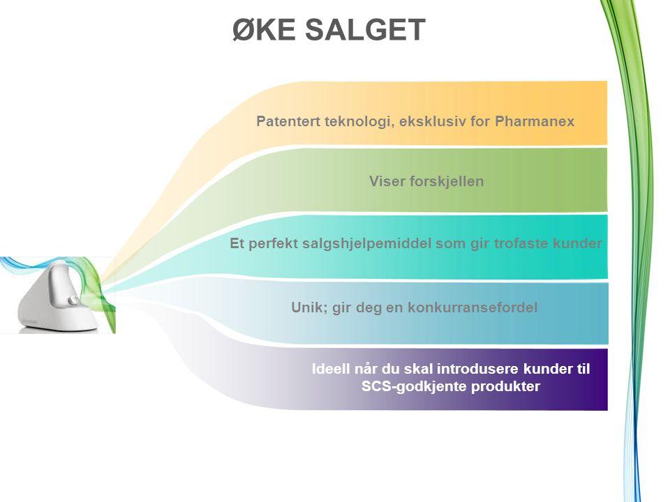 ØKE SALGET Et perfekt salgshjelpemiddel som gir trofaste kunder Unik; gir deg en konkurransefordel Patentert teknologi, eksklusiv for Pharmanex Viser forskjellen Ideell når du skal introdusere kunder til SCS-godkjente produkter