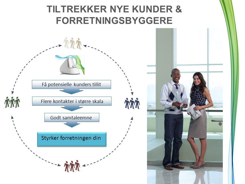 TILTREKKER NYE KUNDER & FORRETNINGSBYGGERE Styrker forretningen din Flere kontakter i større skala Få potensielle kunders tillit Godt samtaleemne