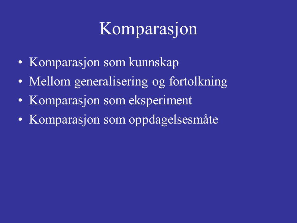 Komparasjon Komparasjon som kunnskap Mellom generalisering og fortolkning Komparasjon som eksperiment Komparasjon som oppdagelsesmåte