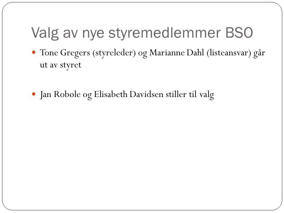 Valg av nye styremedlemmer BSO Tone Gregers (styreleder) og Marianne Dahl (listeansvar) går ut av styret Jan Robøle og Elisabeth Davidsen stiller til valg